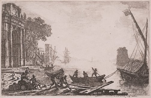 An image of Harbour scene with rising sun by Claude Lorrain