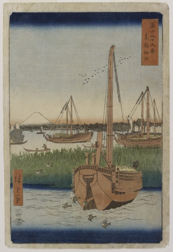 An image of The sea at Tsukuda in Edo