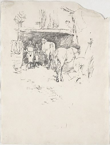 An image of The smith's yard by James Abbott McNeill Whistler