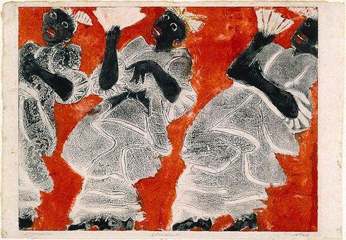 An image of Black chorus line by Rolf Nesch