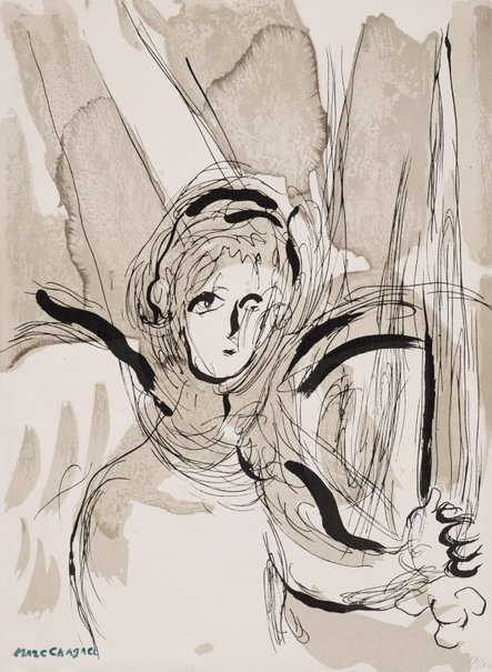 An image of Angel with sword by Marc Chagall