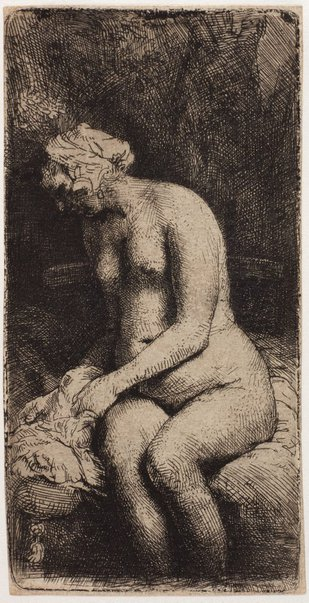 An image of Woman bathing her feet at a brook by Rembrandt Harmensz. van Rijn