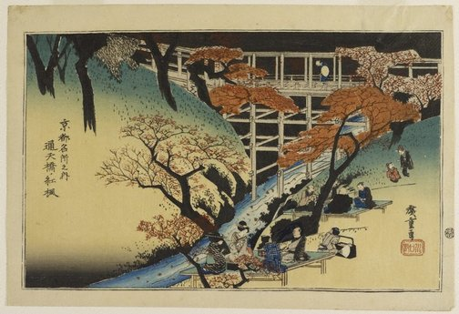 An image of Maples at Tsûten Bridge by Hiroshige Andô/Utagawa