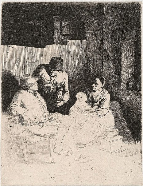 An image of The mother seated in an inn by Cornelis Bega