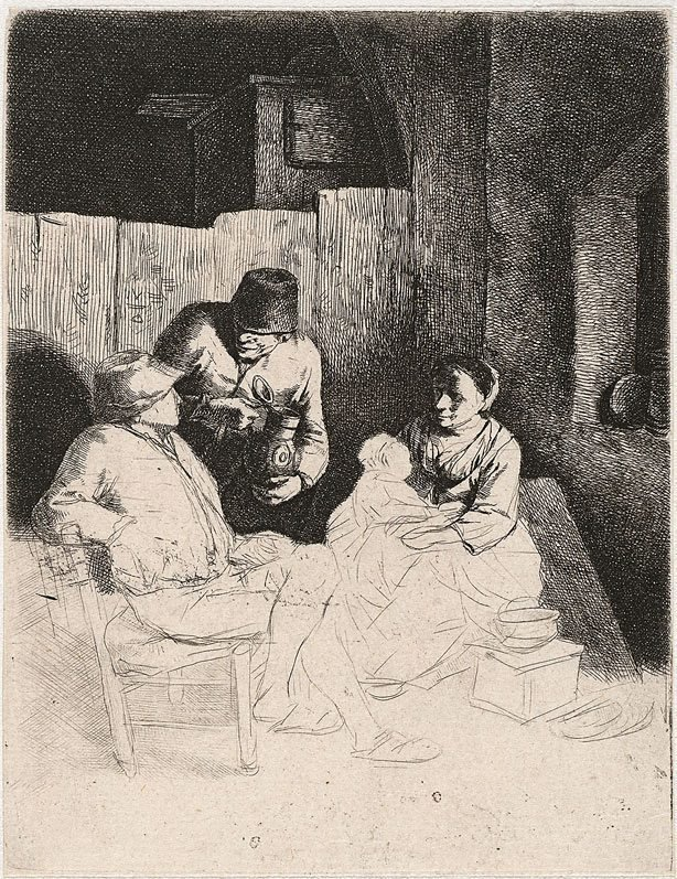 An image of The mother seated in an inn