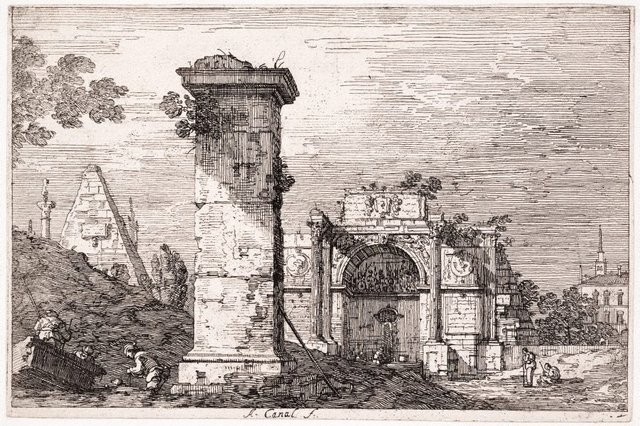 An image of Landscape with ruined monuments
