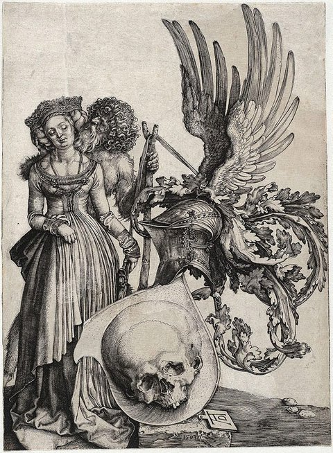 Coat of arms with a skull, (1503) by Albrecht Dürer