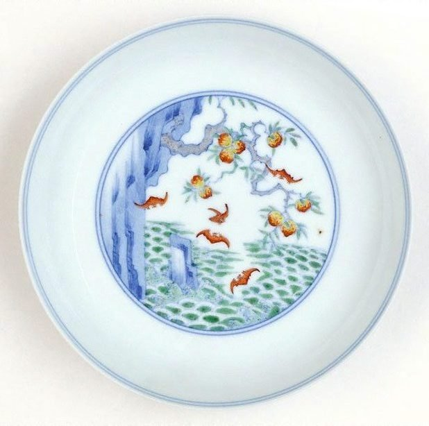 An image of Dish with design of five red bats