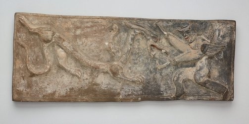 An image of Tomb tile (White Tiger of the West decoration) by