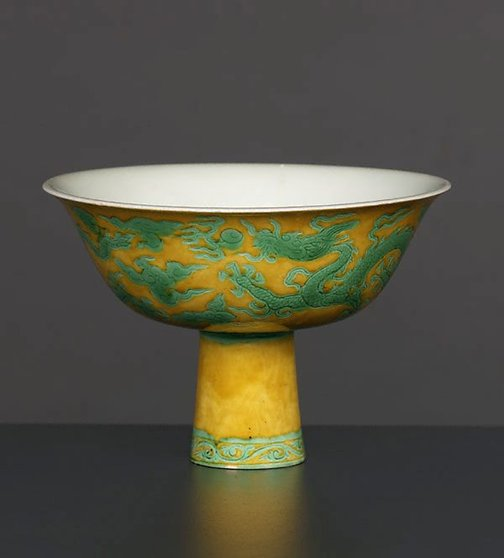 An image of Stem bowl with two dragons by