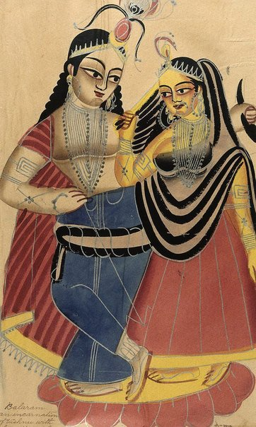 An image of Balarama and his wife Revati by Kalighat school