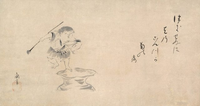 An image of Shôjô at sake jar (Poem and illustration)