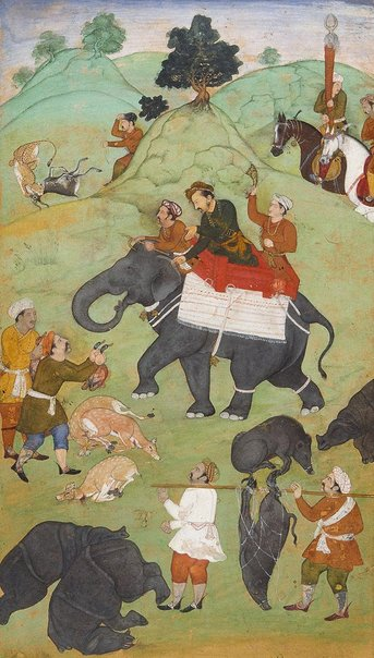 An image of Prince Salim returning from a hunt by