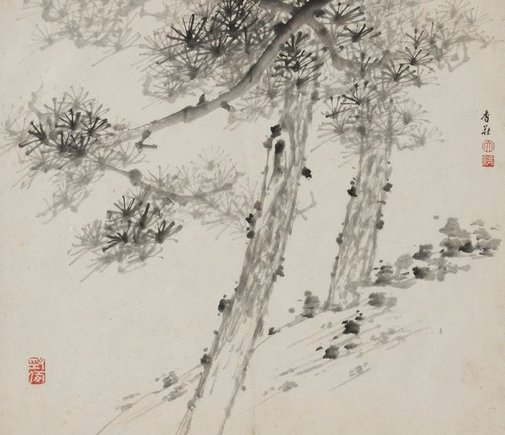 An image of Two pine trees by Xu Dalun