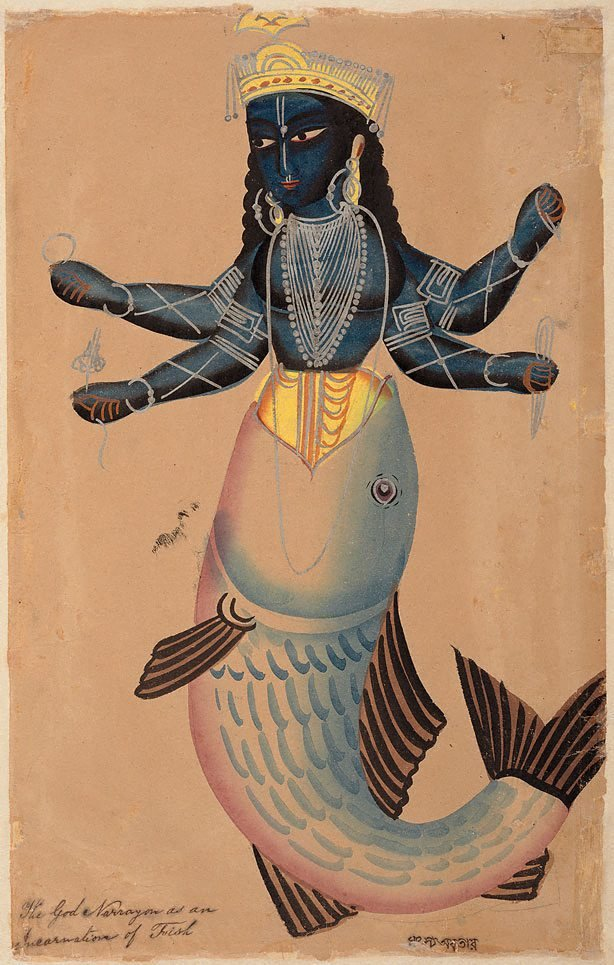 An image of Matsya, the fish incarnation of Vishnu