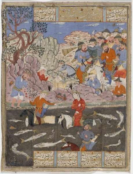 An image of recto: Kay Khusrau, Farangis and Giv cross the River Jihun verso: Leaf from a dispersed manuscript of Firdausi, 'Shahnama' by