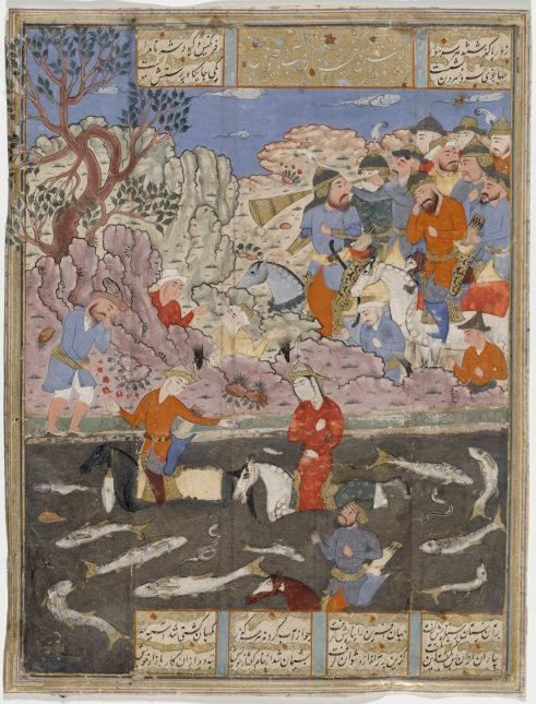 An image of recto: Kay Khusrau, Farangis and Giv cross the River Jihun verso: four columns of text written in nasta'liq script. Folio from the Shahnameh (Book of kings)