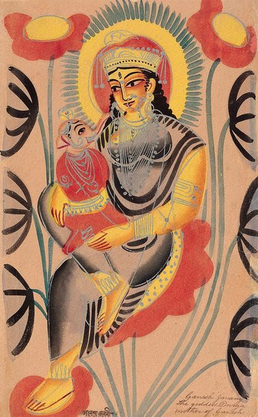 An image of The goddess Durga, mother of Ganesh by Kalighat school
