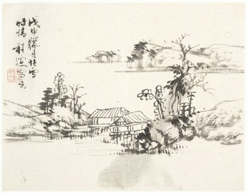 An image of (Landscape with two thatched houses) by Cheng Sui