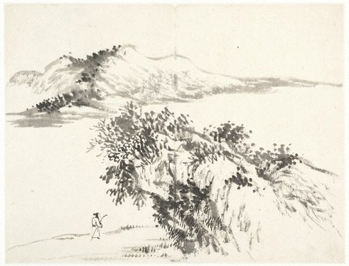 An image of (Landscape with figure carrying staff and passing below an overhanging rock) by Cheng Sui