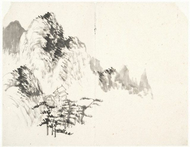 An image of (Mountain landscape with a stone pagoda)
