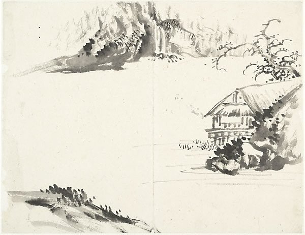 An image of (Landscape with thatched house at right)