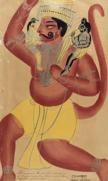 An image of Hanuman rescuing Rama and Lakshmana by Kalighat school