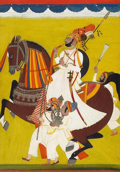 An image of A Rajah of Jodhpur in ceremonial procession by