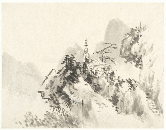 An image of (Mountain landscape with a temple and pagoda beyond pine trees)
