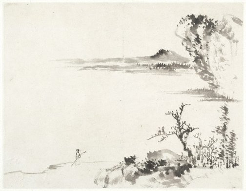 An image of (Landscape with figure carrying a staff) by Cheng Sui