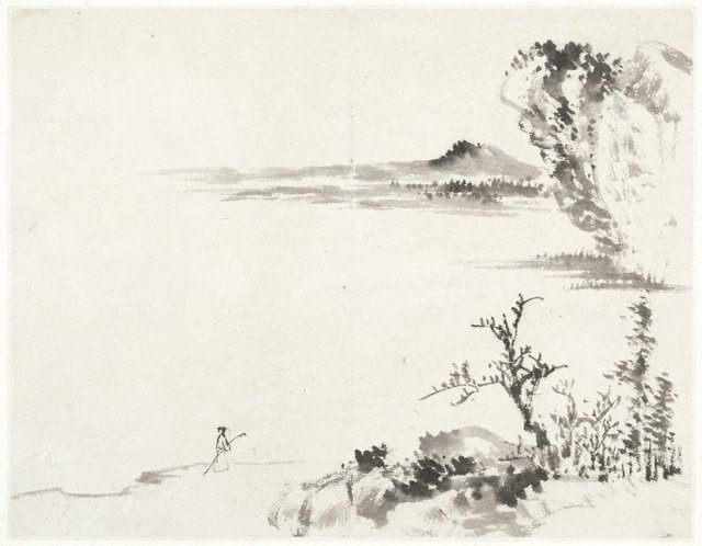 An image of (Landscape with figure carrying a staff)