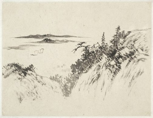 An image of (Landscape with a pagoda, temple and two sailboats) by Cheng Sui