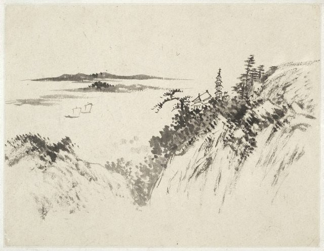 An image of (Landscape with a pagoda, temple and two sailboats)