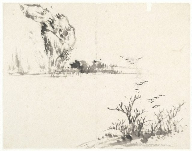 An image of (Landscape with birds rising from a foreground tree)