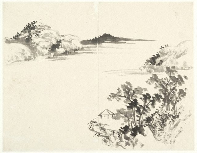 An image of (Landscape with pavilion on a promontory)