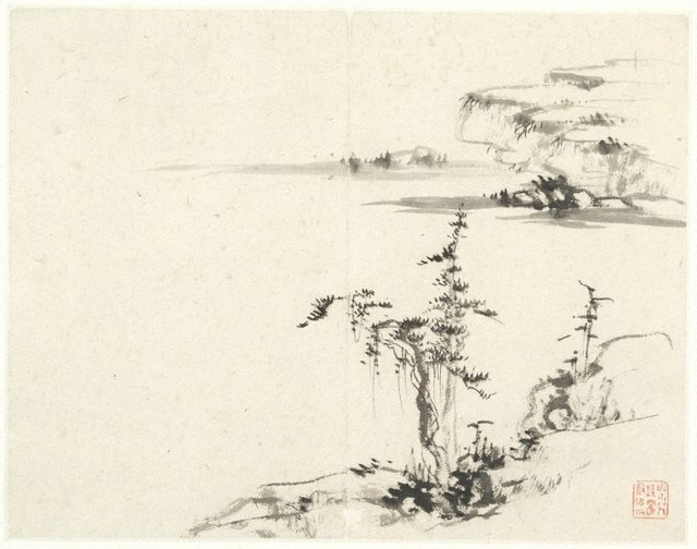 An image of (Landscape with pine and rocks)