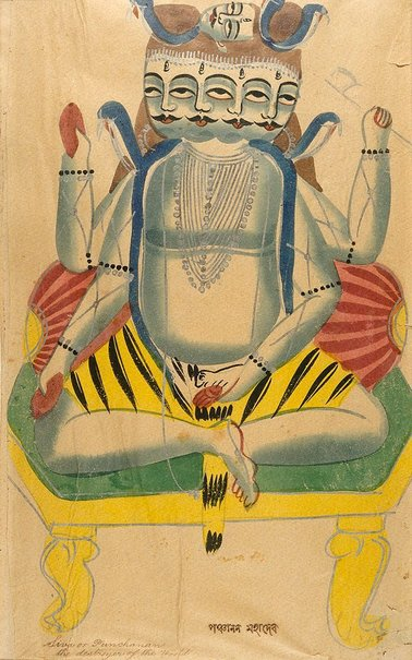An image of A five-faced Shiva by Kalighat school