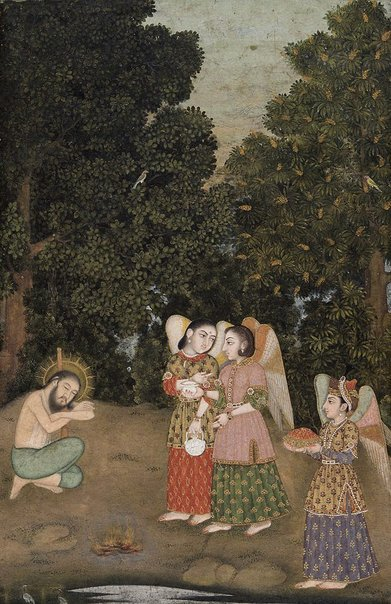 An image of Ibrahim Adham ministered by angels by Bhupat Das