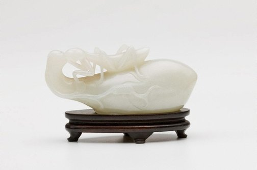 An image of Paperweight carved in the form of a citron with a grasshopper by