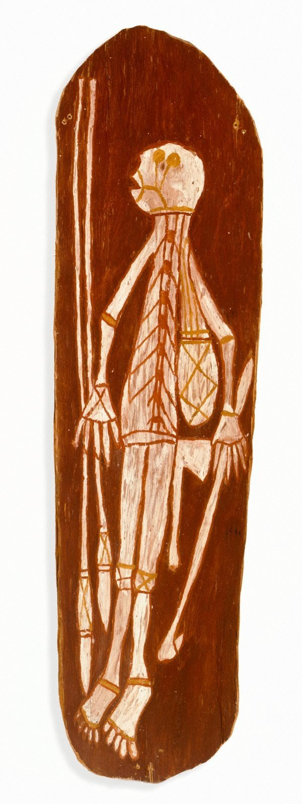 An image of Spirit with two spears, spear thrower, axe and bag