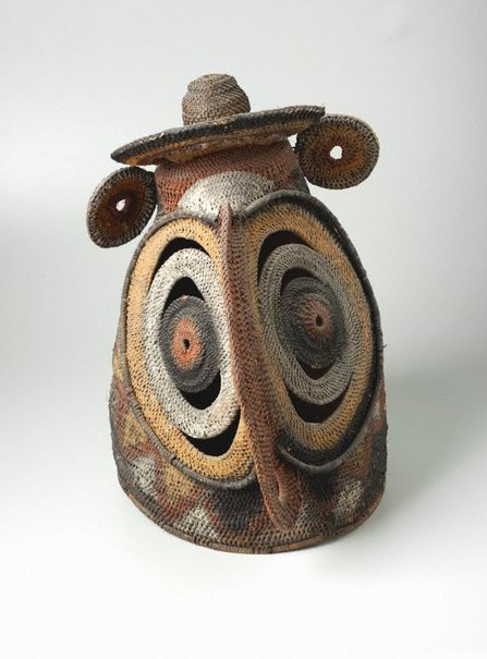 An image of Baba or yau-baba (bell-shaped woven mask) by Abelam people
