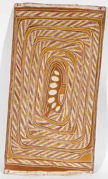 An image of Wagilak sisters story - Wititj (olive python) by Dawidi Birritjama