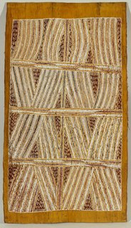 Bark painting (Djan'kawu myth), (circa 1959) by Mawalan Marika