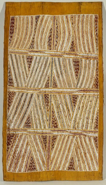 An image of Bark painting (Djan'kawu myth) by Mawalan Marika