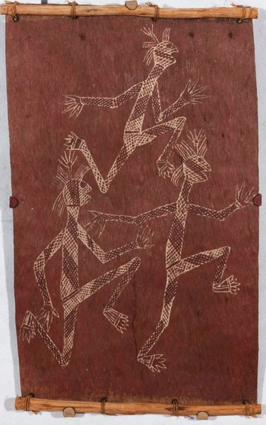 An image of Three dancing Mimi spirits by Dick Nguleingulei Murrumurru