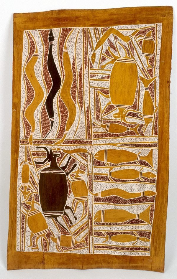 An image of Bark painting (hunting scene)