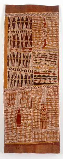 An image of Lany'tjung story (Crocodile and Bandicoot) by Munggurrawuy Yunupingu