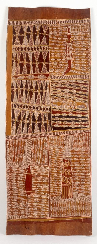 Lany'tjung story (Crocodile and Bandicoot), (1959) by Munggurrawuy Yunupingu