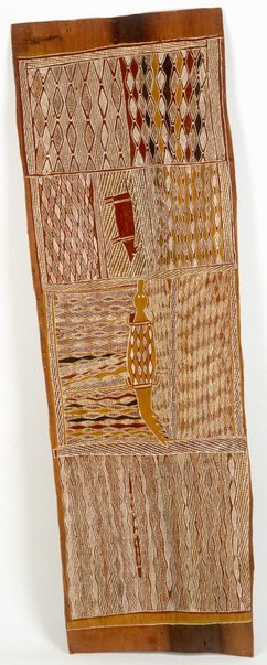 An image of Lany'tjung story (Crocodile, Bandicoot, Fire Dreaming) by Munggurrawuy Yunupingu