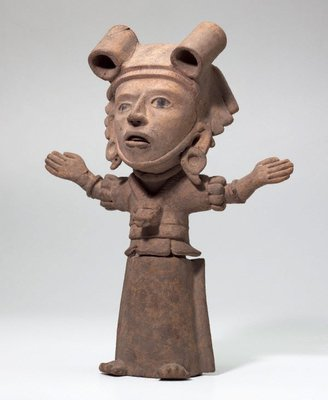 Alternate image of Pottery figure (standing woman with arms outstretched) by Unknown
